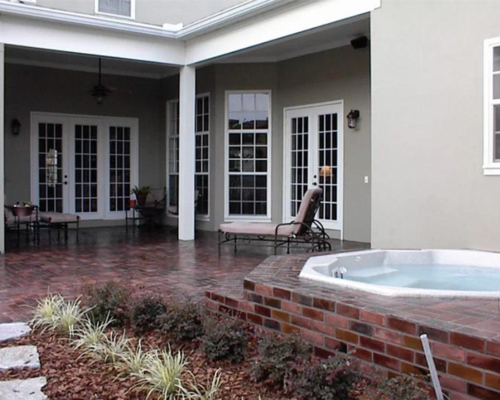 Herringbone pattern outdoor patio Floor in the Charleston color.