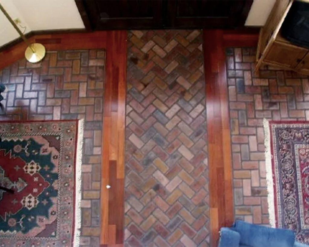 Herringbone pattern indoor front doorway Floor in the Charleston color.
