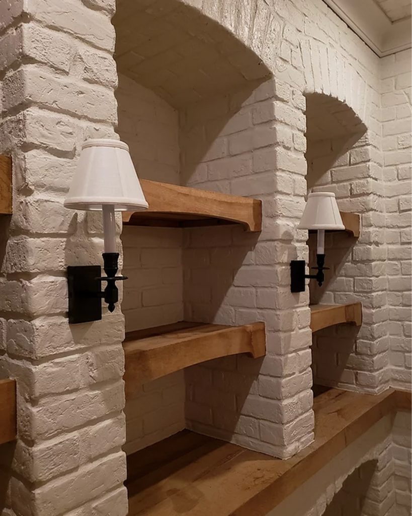 Face Brick pattern interior storage room Wall in the white Unfinished Paintable color.