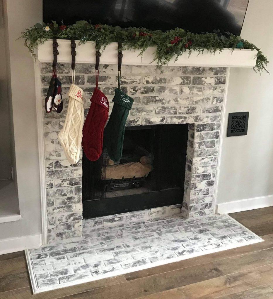 Grey Thin brick veneer on a fireplacce surround