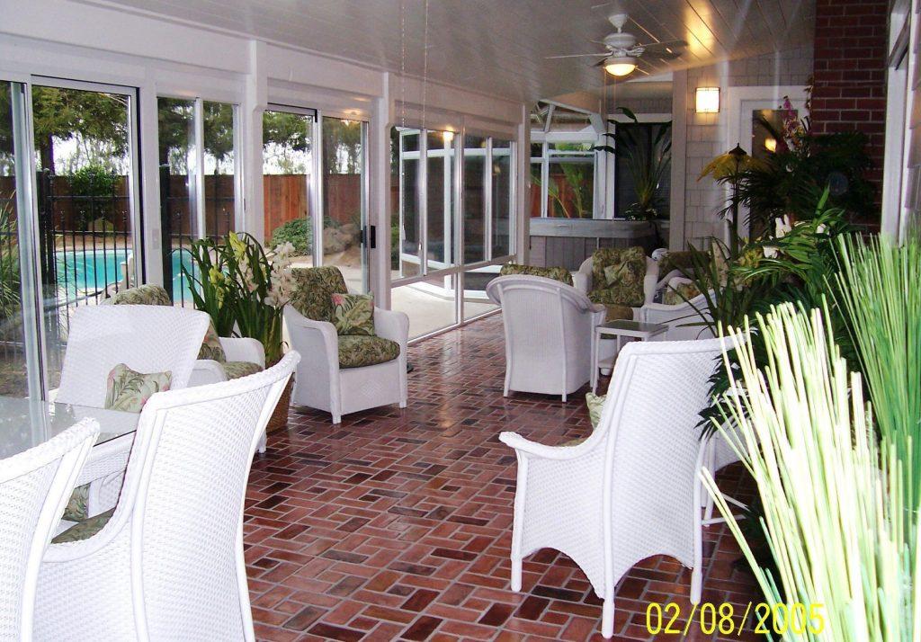 PInwheel brick pattern. Richmond brick color.  PortStone thin brick veneer.  Brick sunroom porch