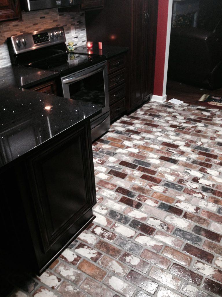 Runningbond brick pattern.  St. Louis brick color.  PortStone Thin Brick.