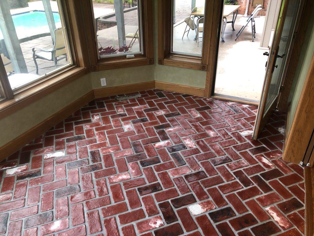 Sadie's Vineyard brick color. Patriot Pavers thin brick veneer, brick floor