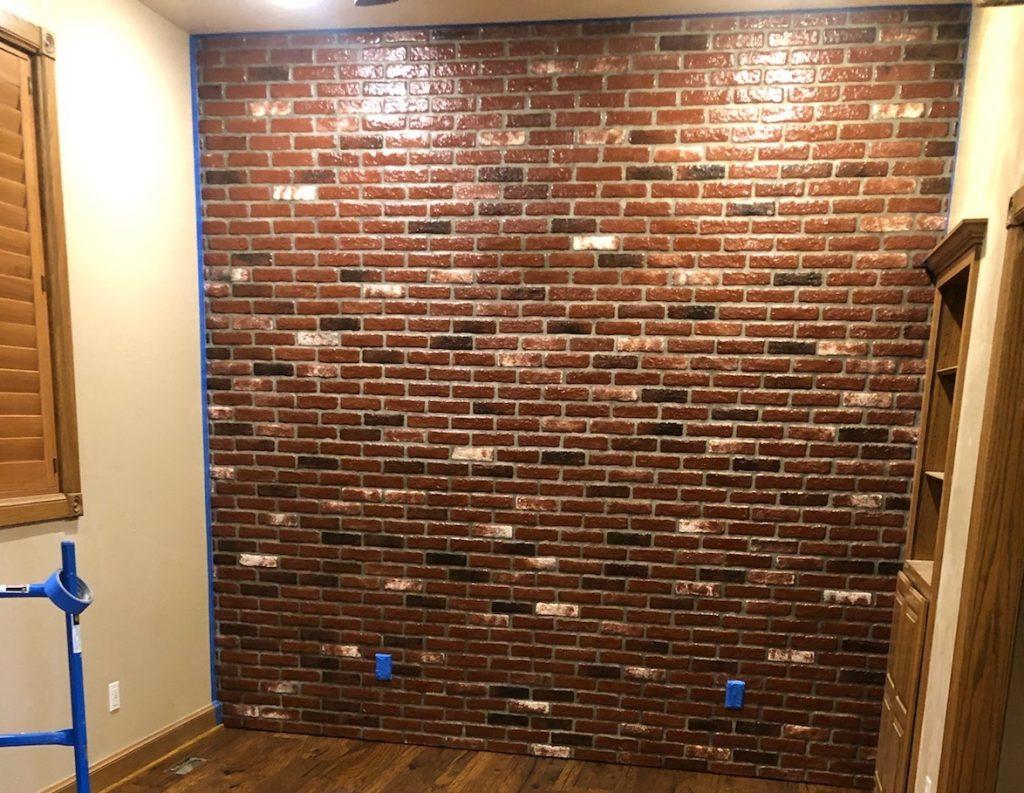 Sadie's Vineyard brick color. Thin brick veneer on a bedroom wall.